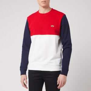 Lacoste Men's Colour Block Sweatshirt - Navy Green/Off White