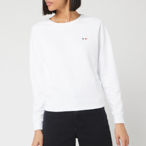 Maison Kitsuné Women's Sweatshirt Tricolor Fox Patch - White