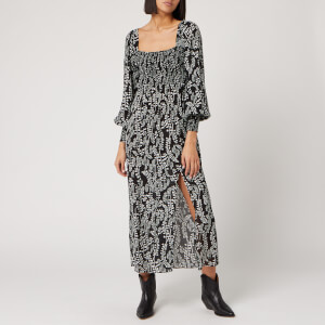 RIXO Women's Marie Dress - Tree Roots Black Cream