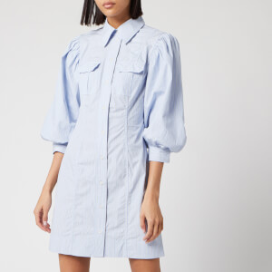 Ganni Women's Stripe Cotton Mini Shirt Dress - Brunnera Blue