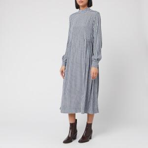 Ganni Women's Checked Printed Crepe Midi Dress - Brunnera Blue