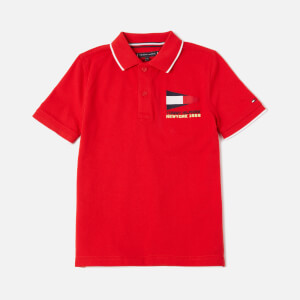 Tommy Kids Boys' Badge Polo Shirt - Deep Crimson