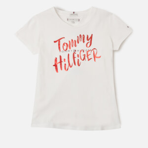 Tommy Kids Girls' Graphic On Graphic T-Shirt - White