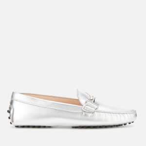 Tod's Women's Gommini Double T Loafers - Silver