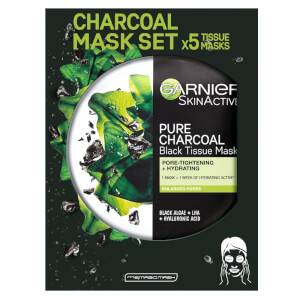 Garnier Charcoal and Algae Purifying and Hydrating Face Sheet Mask for Enlarged Pores (5 Pack)