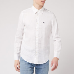 Emporio Armani Men's Eagle Logo Long Sleeve Shirt - White