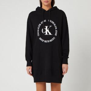 Calvin Klein Jeans Women's CK Round Logo Hooded Knit Dress - CK Black