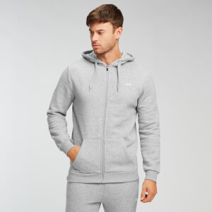 Sweat à capuche zippé MP Essentials pour hommes – Gris chiné