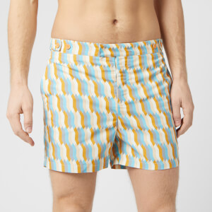 Frescobol Carioca Men's Tailored Mosaique Swim Shorts - Mandarin/Off White