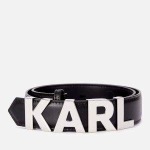 Karl Lagerfeld Women's K/Karl Metal Letters Belt - Black