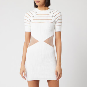 Balmain Women's Short Sleeve Transparent Pleated Knit Dress - White