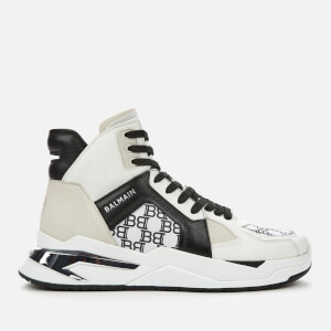 Balmain Men's B-Ball Allover Monogram Trainers - Blanc/Noir