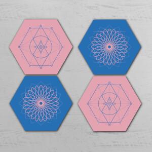 Colourful Symmetrical Circles Hexagonal Coaster Set