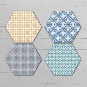 Small Floor Tiles Hexagonal Coaster Set