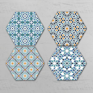 Moroccan Pattern Hexagonal Coaster Set