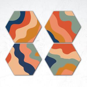 Wavy Colours Hexagonal Coaster Set
