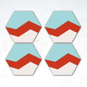 Blue, Red And White Shapes Hexagonal Coaster Set