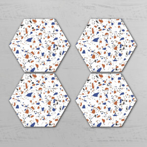 Large Terrazzo Hexagonal Coaster Set