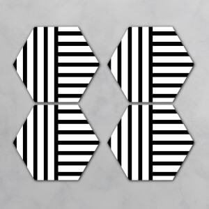 Black And White Lines Hexagonal Coaster Set