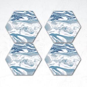 Blue Marble Hexagonal Coaster Set