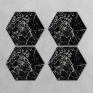Black Marble Hexagonal Coaster Set