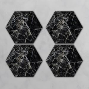 Black Marble Hexagonal Coaster Set