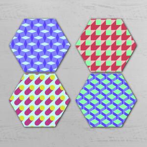Bright Optical Illusion Hexagonal Coaster Set