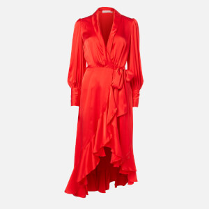 Zimmermann Women's Silk Wrap Midi Dress - Jaffa