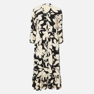 Calvin Klein Women's 3/4 Sleeve Button V-Neck Maxi Dress - Multi