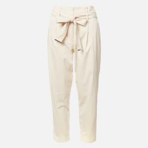 Calvin Klein Women's Cotton Paper Bag Waisted Trousers - Cream