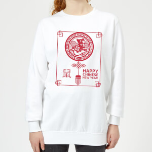 Happy Chinese New Year Red Women's Sweatshirt - White