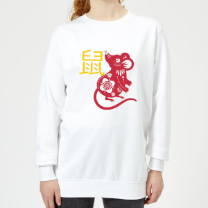 Chinese Zodiac Rat Women's Sweatshirt - White