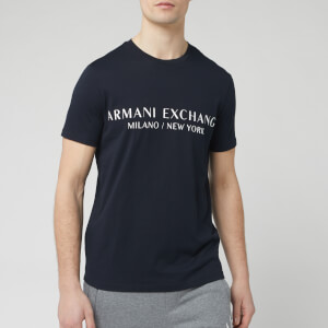 Armani Exchange Men's Large Text Logo T-Shirt - Navy