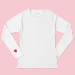 Red Valentine Heart On Your Sleeve Unisex Long Sleeved T-Shirt - White