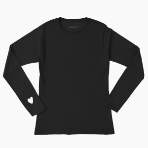 White Valentine Heart On Your Sleeve Unisex Long Sleeved T-Shirt - Black