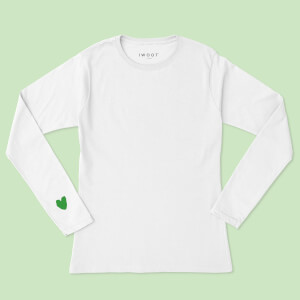 Green Valentine Heart On Your Sleeve Unisex Long Sleeved T-Shirt - White