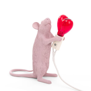 Seletti Standing Mouse Lamp - Valentine's Day Pink