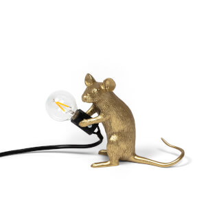 Seletti Sitting Mouse Lamp - Gold