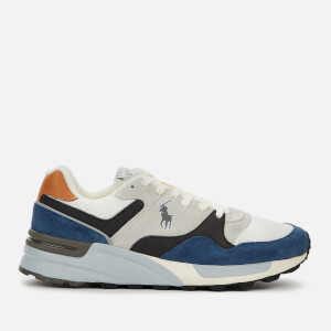 Polo Ralph Lauren Men's Trackstar Pony Suede/Leather/Mesh Running Style Trainers - Vintage Indigo/Skyline
