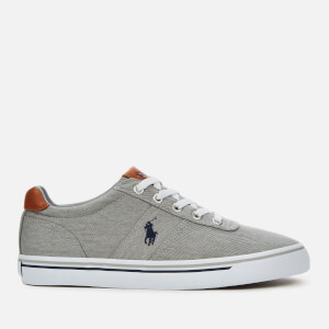 Polo Ralph Lauren Men's Hanford Washed Twill Low Top Trainers - Soft Grey/Navy PP