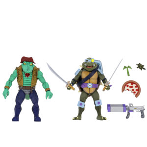NECA Teenage Mutant Ninja Turtles Cartoon Series Leather Head and Slash 2 Pack