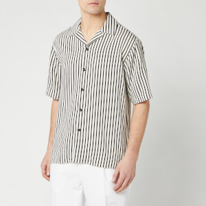 AMI Men's Camp Collar Short Sleeve Shirt - Ecru/Noir
