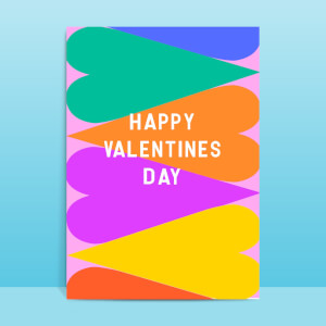Bright Large Hearts Valentine Greetings Card