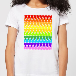 Rainbow Heart Upside Down Women's T-Shirt - White