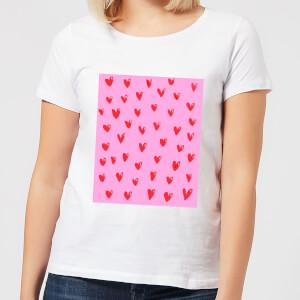 Hand Drawn Red Heart Pattern Women's T-Shirt - White