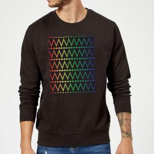 Mini Heart Print On Rainbow Sweatshirt - Black