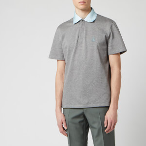 Lanvin Men's Logo Embroidery Polo - Grey
