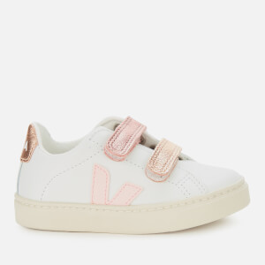 Veja Toddler's Esplar Velcro Leather Trainers - Extra White/Petal/Venus