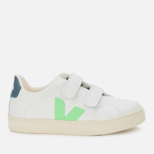 Veja Kid's Esplar Velcro Leather Trainers - Extra White/Absynthe/California