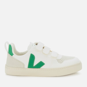 Veja Kid's V10 Velcro Leather Trainers - White/Emeraude